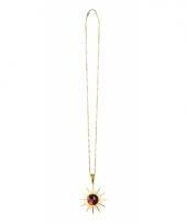 Gouden dracula ketting met rode steen