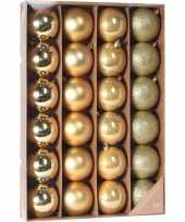 Gouden kerstboomballen set 24 stuks 6 cm