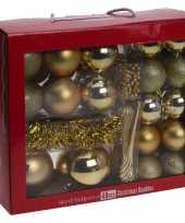 Gouden kerstboomversiering kerstballen set 48 delig kunststof