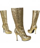 Gouden laarzen met glitters