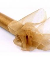 Gouden organza stof met glitters 36 cm