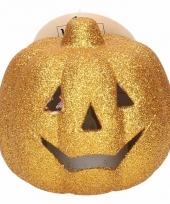 Gouden pompoen met glitters en led verlichting 9 cm