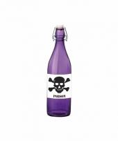 Grappige paarse glazen fles met vergif