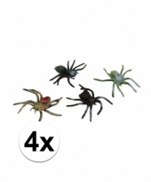 Griezelige spinnen 4 stuks 10 cm