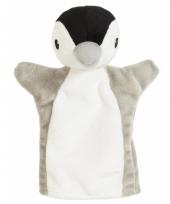 Grijs met witte pinguin handpop 22 cm