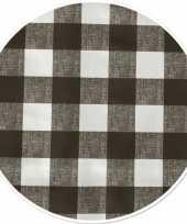 Grijs tuin tafellaken voor buiten ruitjes print 160 cm pvc kunststof