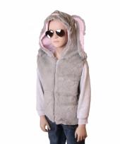 Grijze bodywarmer konijn voor kids