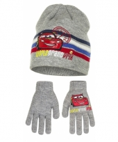 Grijze cars muts en handschoenen bliksem