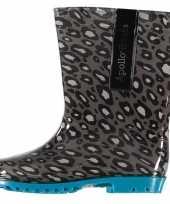 Grijze kinder regenlaarzen met luipaard print