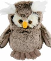 Grijze knuffel uilen 18 cm