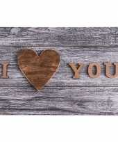 Grijze placemat i love you 44 cm