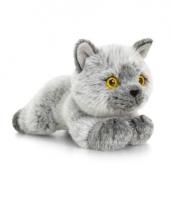 Grijze poes kat knuffel liggend 30cm