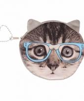 Grijze poezen portemonneetje met bril 10 x 11 cm