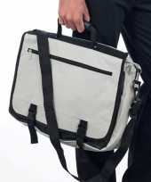 Grijze zakentas laptoptas van polyester
