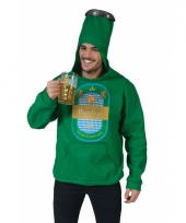 Groen bierflesje kostuum met bierfest erop
