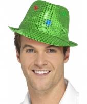 Groen glitter hoedje met led verlichting