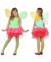 Groen met rode vlinder jurk voor kids