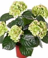 Groen rozee kunst hortensia plant 36 cm
