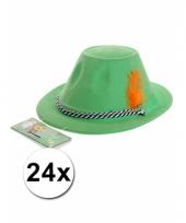 Groene bierfeest hoeden met veer 24x