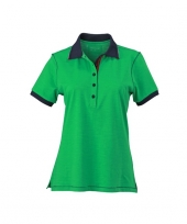 Groene dames poloshirt met korte mouwen