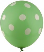 Groene feest ballonnen met witte stippen 30 cm 5st