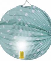 Groene feest lampion met witte stippen 20 cm