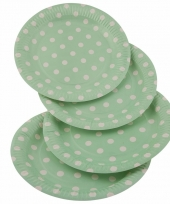 Groene feestbordjes met witte stippen 23 cm