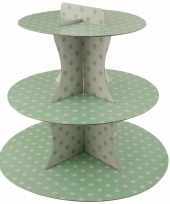 Groene high tea etagere 3 laags met witte stippen 30 cm