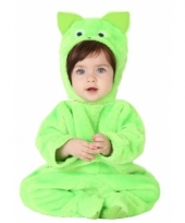 Groene kat onesie voor babys