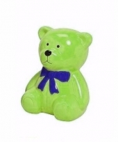 Groene kinder teddybeer spaarpot