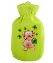 Groene kruik met fleece hoes varkentje