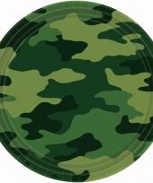 Groene legerprint bordjes 8 stuks