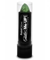 Groene lippenstift met glitters
