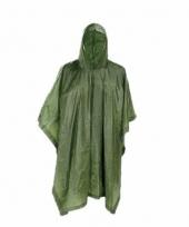 Groene regenjas poncho voor volwassenen