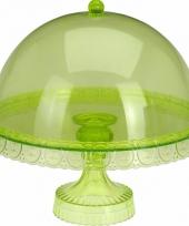 Groene taarthouder met deksel