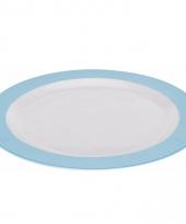 Groot lunchbord melamine wit en blauw