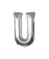 Grote letter ballon zilver u 86 cm