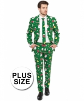 Grote maat compleet kostuum met kerst print groen