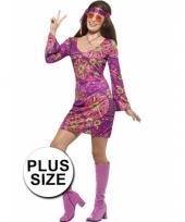 Grote maat dames hippies kostuum jaren 60