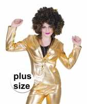 Grote maat gouden 70s disco verkleedkleding jasje voor dames