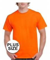 Grote maat katoenen t-shirt oranje voor volwassenen