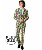 Grote maat luxe gekleurd pak met harlekijn print