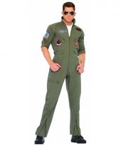 Grote maat piloten overall legergroen voor volwassenen