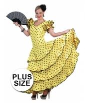 Grote maat verkleedkleding gele flamencojurk