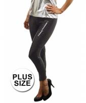 Grote maat zwarte leggings met pailletten