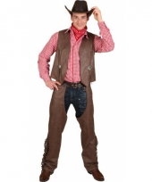Grote maten chaps en vest in lederlook
