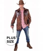 Grote maten cowboy verkleed jas bruin voor heren