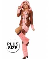 Grote maten dames eskimo kostuum bruin roze