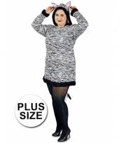 Grote maten dames zebra kostuum