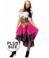 Grote maten dames zigeunerin kostuum paars roze